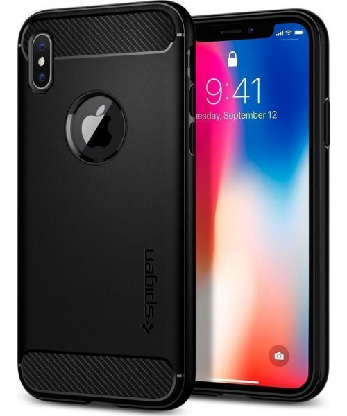 Spigen Rugged Armor iPhone X black 057CS22125