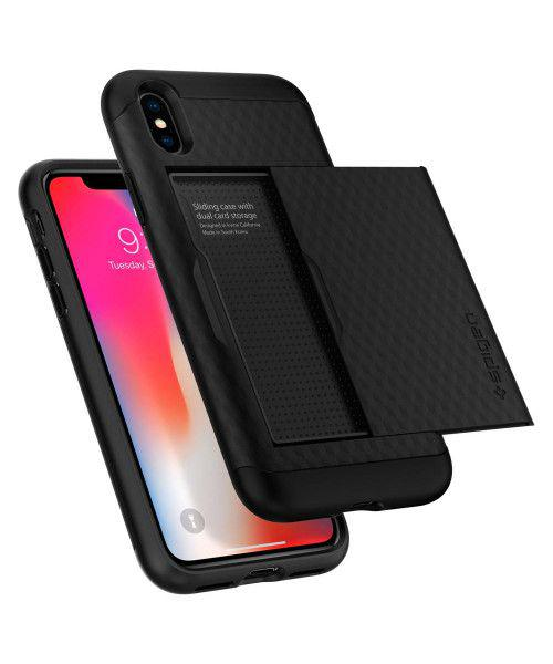 Spigen Crystal Wallet 057CS22151 iPhone X Case Black