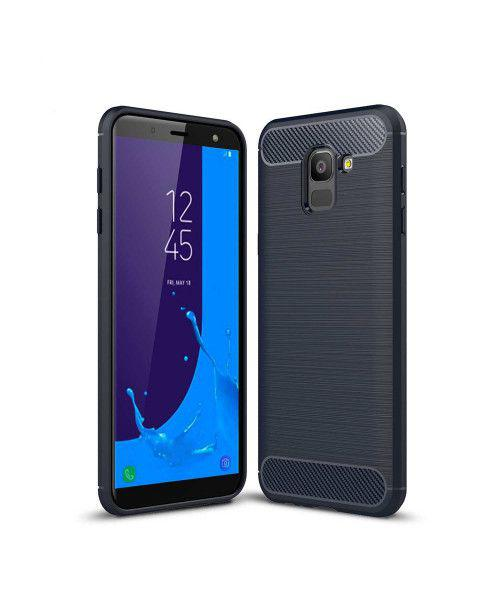 Θήκη OEM Brushed Carbon Flexible Cover TPU  for Samsung Galaxy J6 2018 J600 μπλε χρώματος