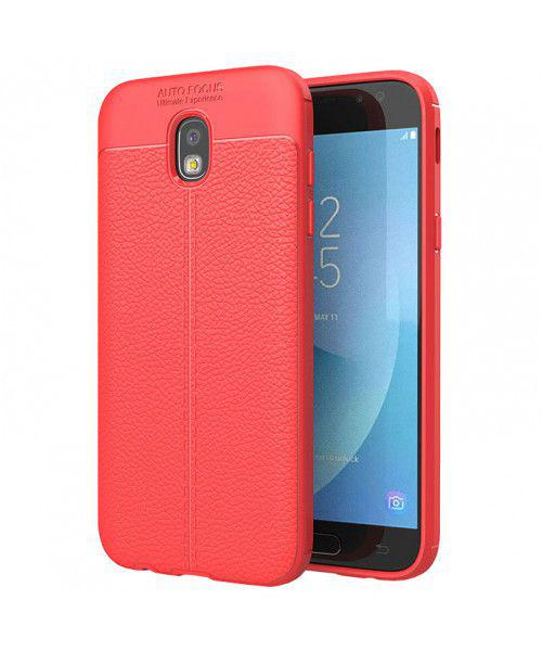 Θήκη Litchi Pattern Flexible Cover TPU για Samsung Galaxy J7 2017 J730 Red