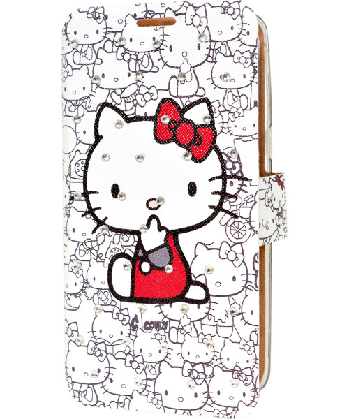 Θήκη OEM Wallet για Huawei P8 Lite Hello Kitty white with diamonds (stand, θέση για κάρτα)