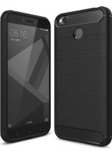 Θήκη OEM Brushed Carbon Case Flexible Cover TPU Case for Xiaomi Redmi 4X μαύρου χρώματος
