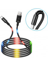 Usams SJ287 Data Cable Type C Voice Control LED Black