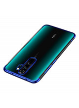 Clear Color Case Gel TPU Electroplating frame Cover for Xiaomi Redmi 9 blue