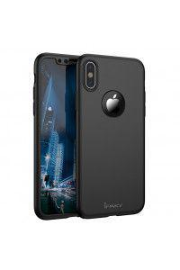 Θήκη iPaky 360 Protection front and back full body case για iPhone X black + φιλμ προστασίας οθόνης